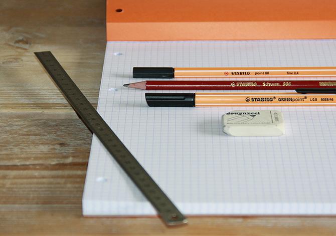 handletteren benodigdheden liniaal stabilo fineliners potlood en gum