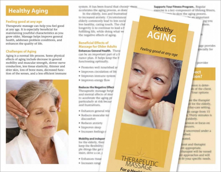 Healthy Aging Brochure Massage Products By Hemingway