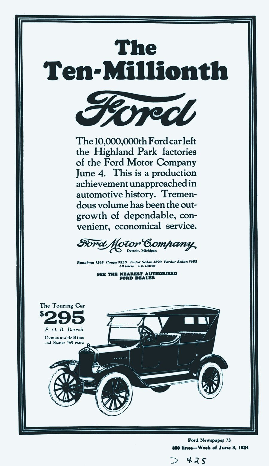 hight resolution of june 1924 ad celebrated a production milestone about 1 000 model t