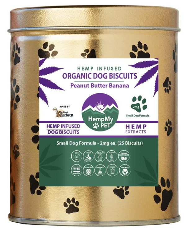 Hemp Dog Treats - 2mg CBD ea, Organic, Small Dog Formula, Peanut Butter Banana