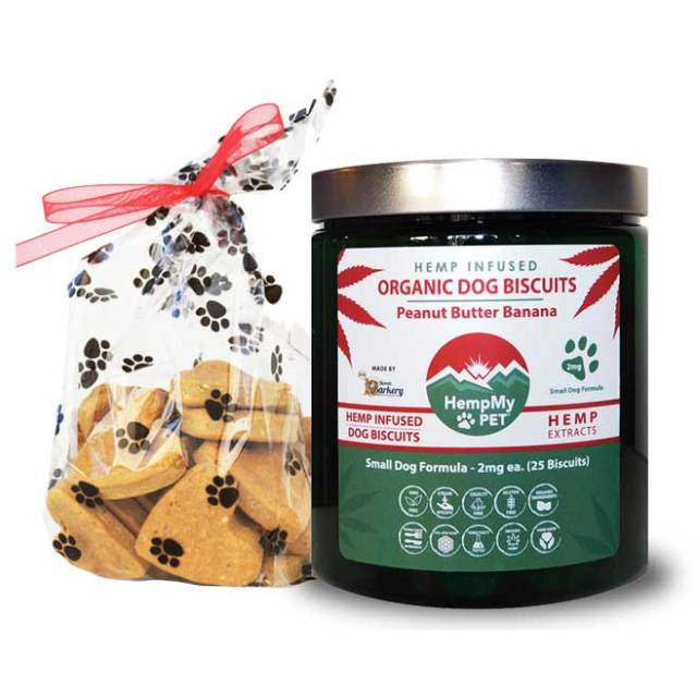 Organic Dog Biscuits - Infused with Organically Grown Colorado CBD Hemp Extract - Handmade Small Dog Formula 2 mg - Peanut Butter Banana - Limited Edition Holiday Jar