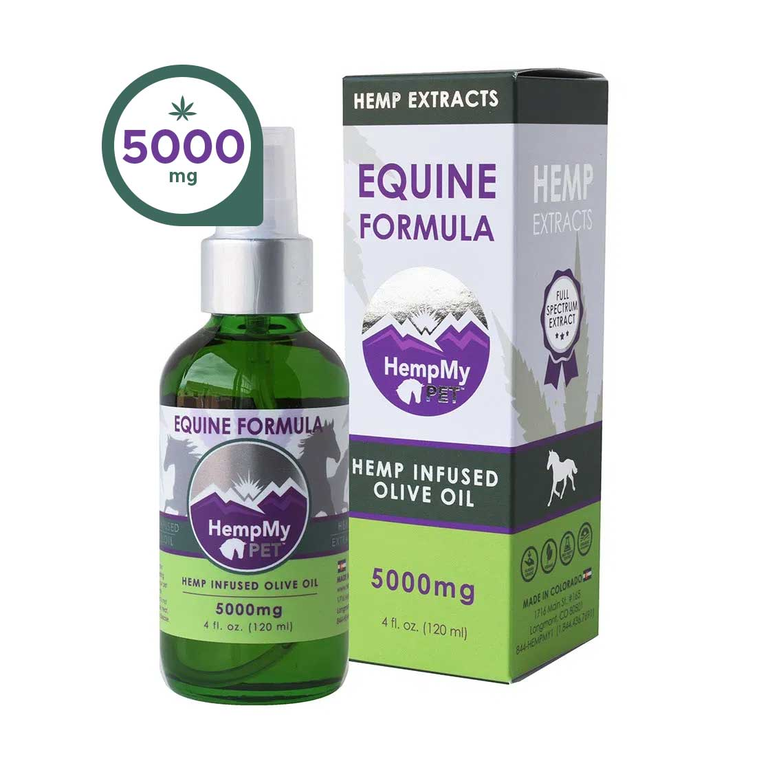 Hemp Infused Olive Oil for Horses - 5000mg CBD, CBG, CBC ea (4 fl oz bottle)