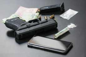 gun, drugs, money