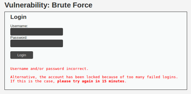 error message from failed login on impossible DVWA Brute Force