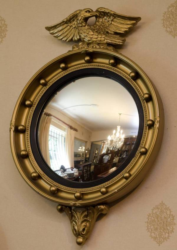 Antique Eagle Round Convex Mirror