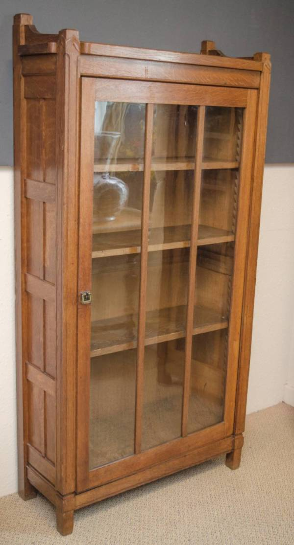 Antique Oak Glass Front Bookcase