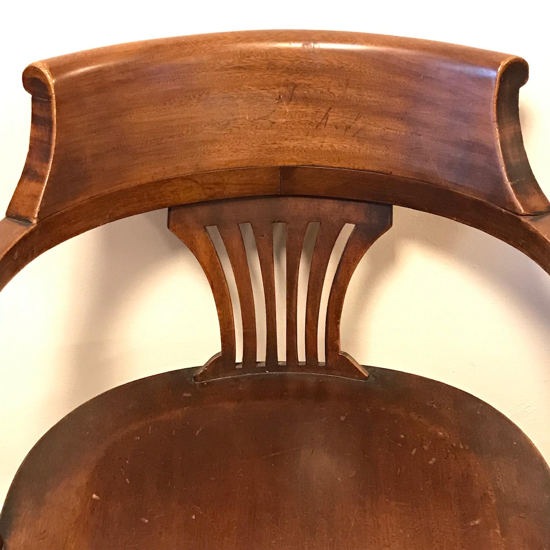 Edwardian Mahogany Office Desk Chair  Antique Chairs