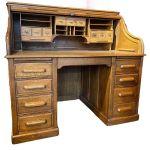 Late 19th Century Oak Roll Top Pedestal Desk Antique Desks Hemswell Antique Centres