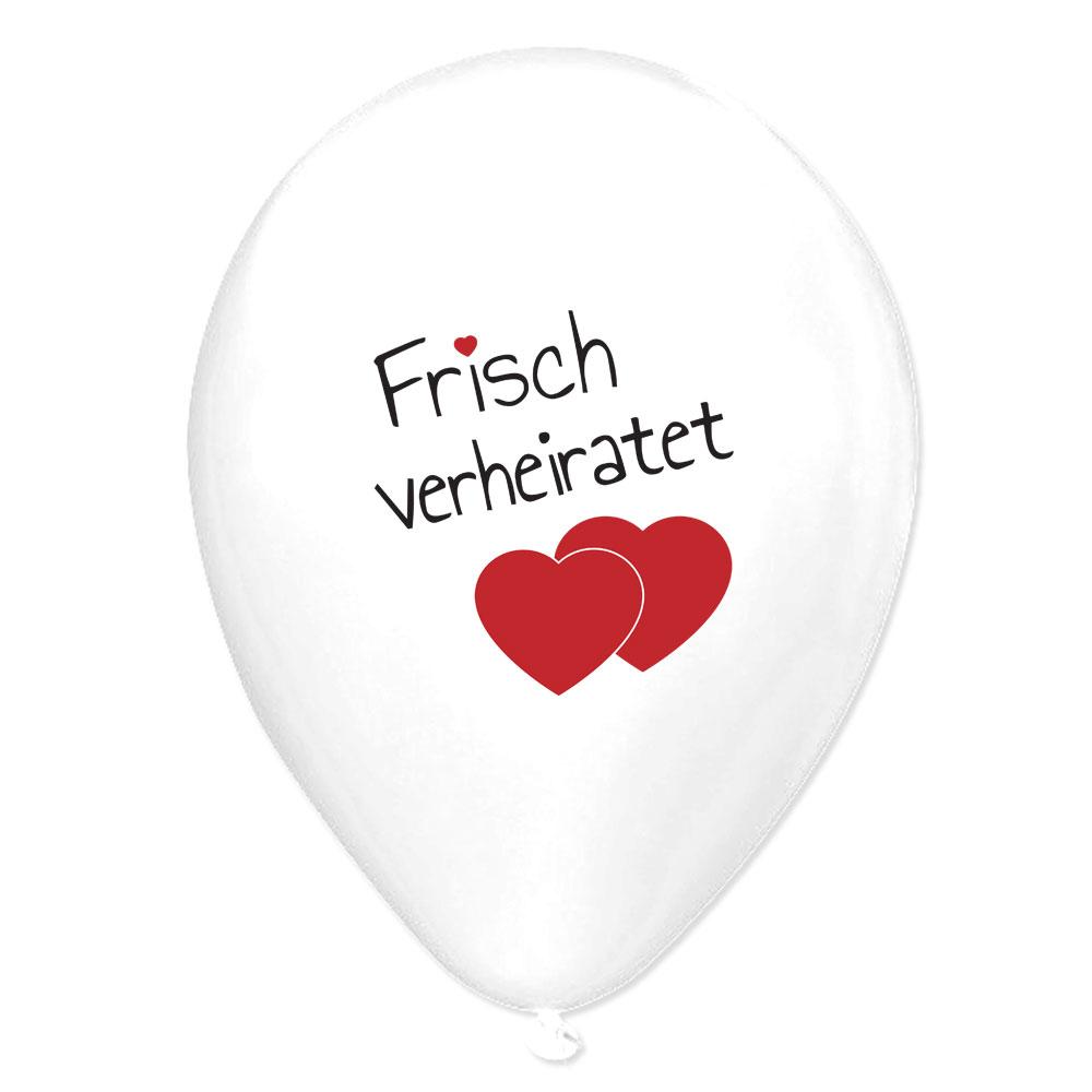 Luftballons Frisch verheiratet  weie Hochzeitsballons