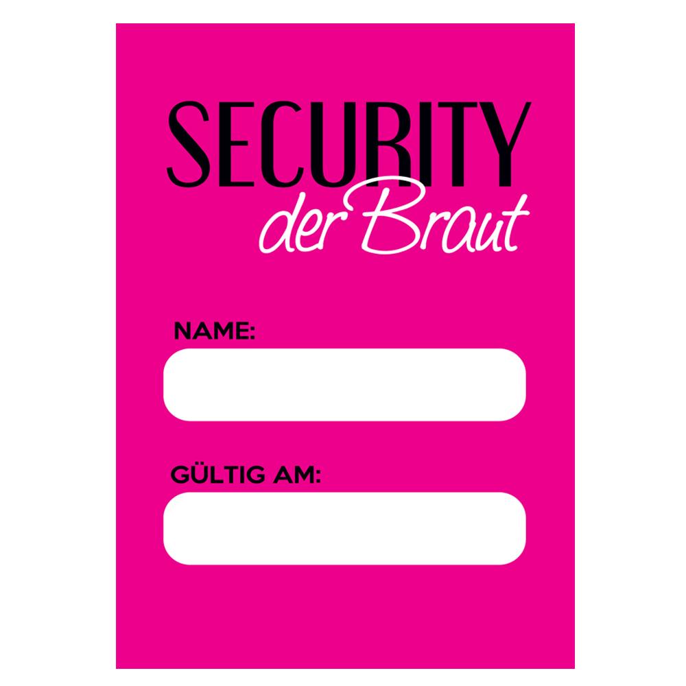 JGAAusweis Braut Security  Junggesellinnenabschied