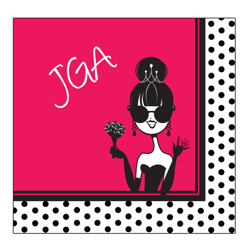 Stylishe JGAServietten  Pink mit ComicBraut