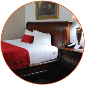 Queen sized bed and pet friendly accommodations at Ramada Inn.