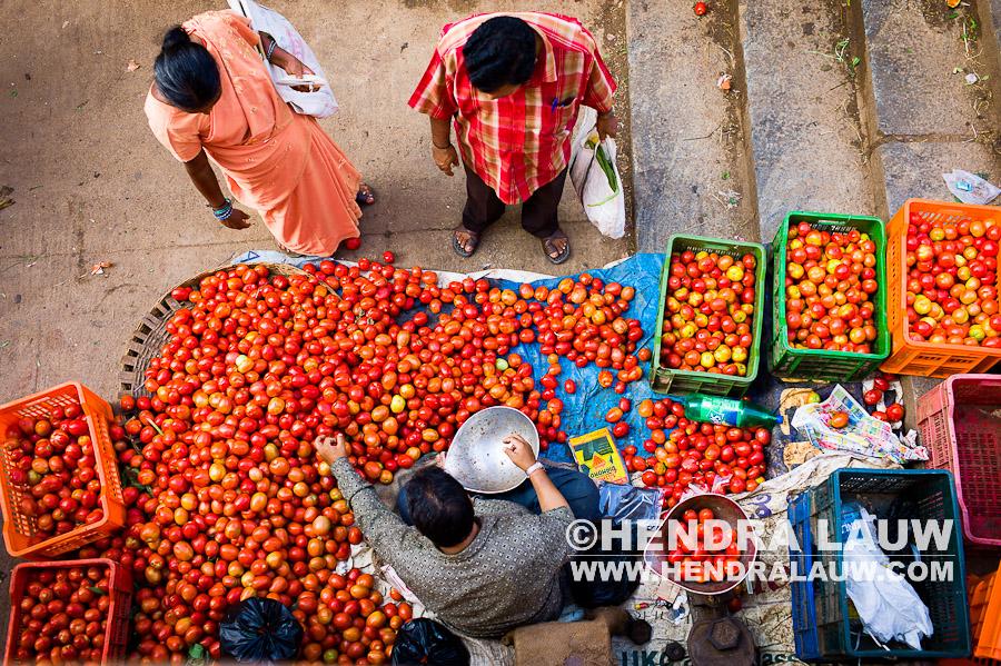 The Tomato Man at Shivaji Nagar Market