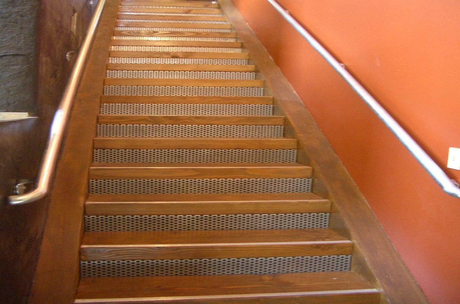 Metal Stair Treads Risers Perforated Metal Stair Panels | Modern Stair Treads And Risers | Hardwood | Non Slip | Riser Short Stringer | Cap | Luxury Vinyl Stair