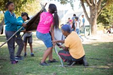 Building their structure in preparation for housing protest in Suurbraak