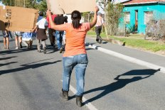 Suurbraak housing protest: a protester