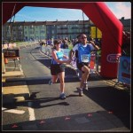 Crossing the finishing line with Debbie