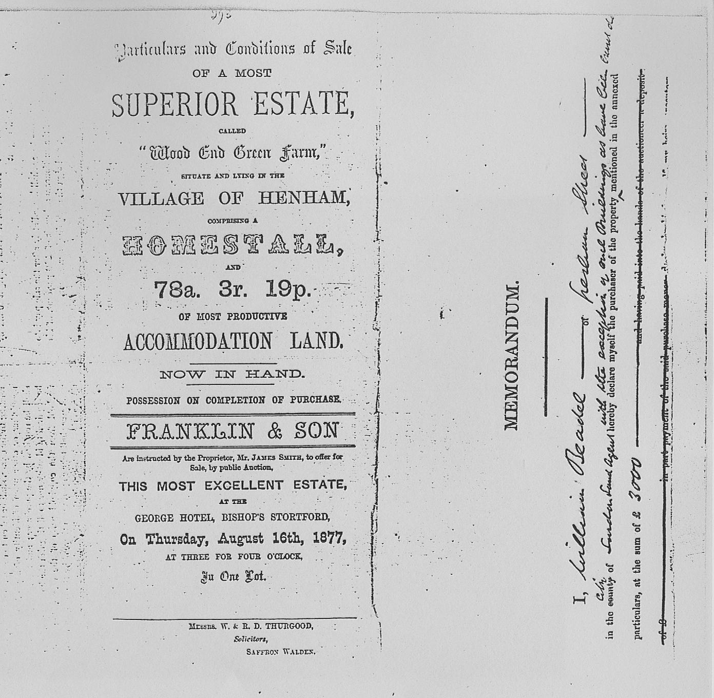 Henham History Auction 1877