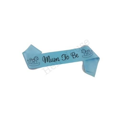 Blue Mum to Be Sash