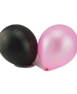 Round Latex Balloon (Pink Black) 7