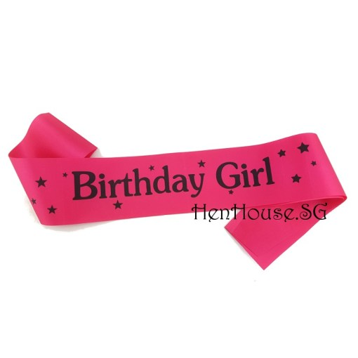 Pink Starry Birthday Girl Sash