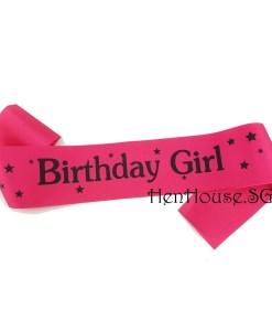 Pink Starry Birthday Girl Sash