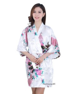 Peacock Printed White Robe