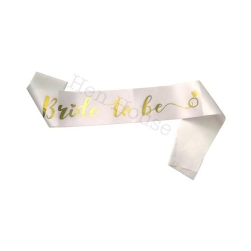 Gold on White Bride to Be Sash