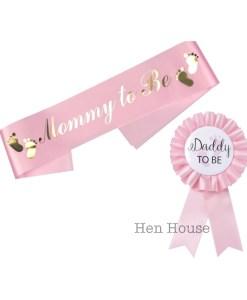 Pink Mummy Daddy to Be Sash Badge Set