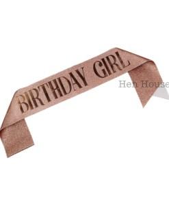 Rose Gold Glitter Birthday Girl Sash