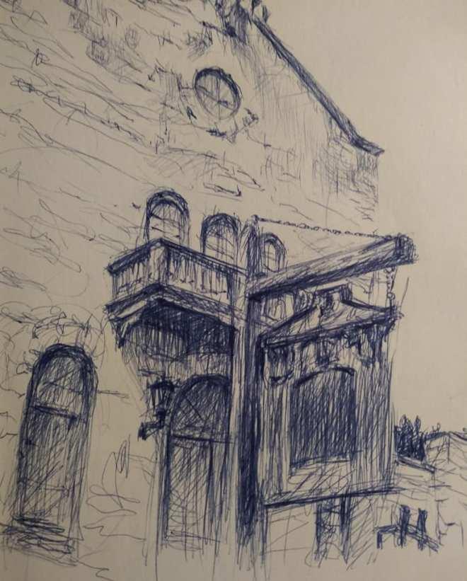"Henia Flynn's ""East Coast Trip, Mystic Connecticut"" Ballpoint Pen Sketch on Paper"