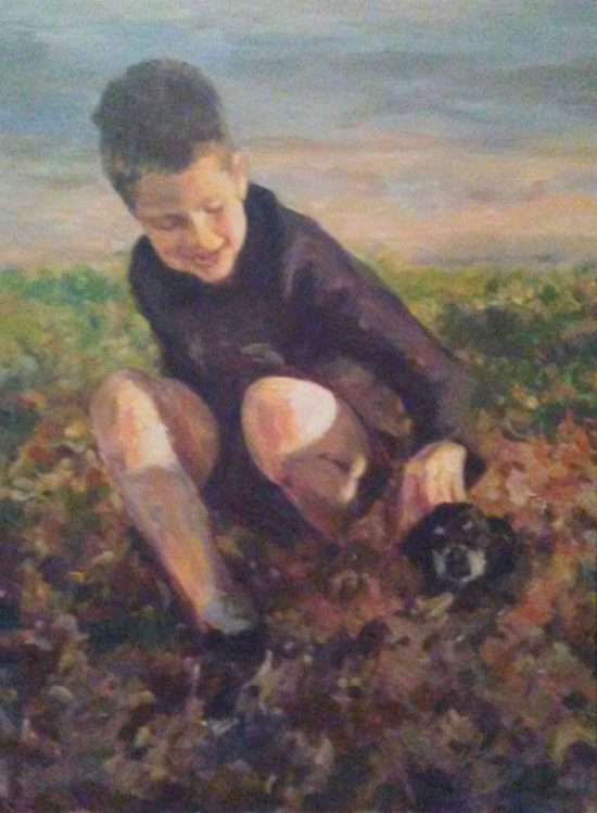 "Henia Flynn's ""Boy and Dog"" Acrylic on Board 18"" x 24"" Commissioned Portrait"