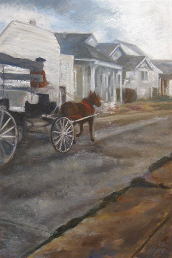 "Henia Flynn's Rampart Street Oil on Canvas 24"" x 36"""