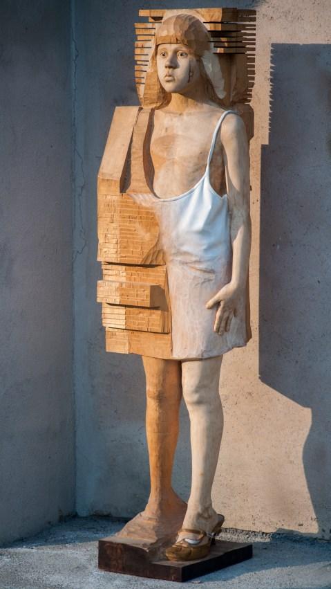 legno di acero dipinto con terre (140x40x25 cm)