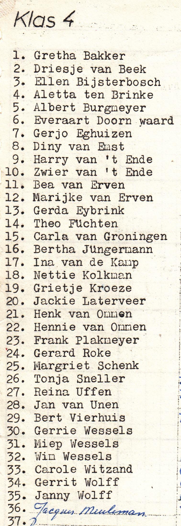 Mijn vierde schooljaar (1971-1972)