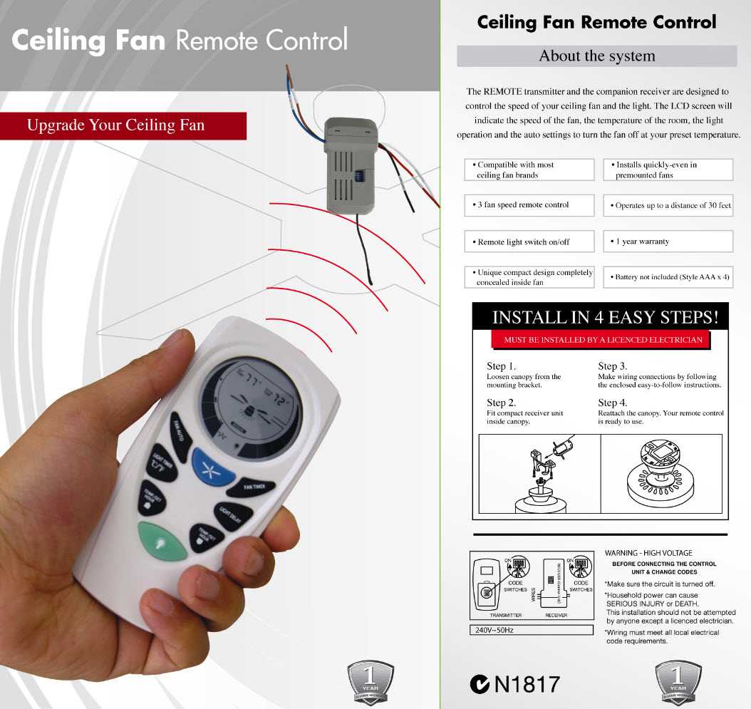 ceiling fan wiring diagram with remote control danfoss room stat lucci universal pack