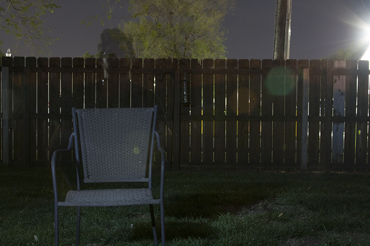You can create a ghosting effect by moving into the frame and then walking out half way through. This was a 30 second shot, so I sat in the chair for 15 seconds and then walked out of frame.