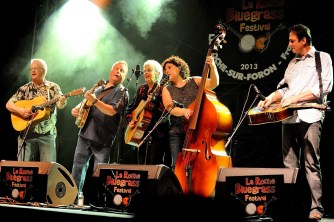 At La Roche Bluegrass festival, FR with Fields and Thompson Band, 2013 L-R: James Field, Percy Copley Sue Thompson, Alice Coleman, HN