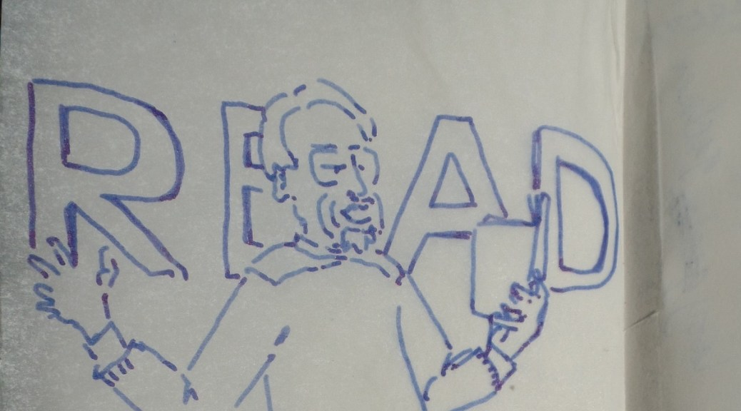 Blue ink cartoon sketch of Henry James Korn Reading Amerikan Krazy at Chevalier's Books