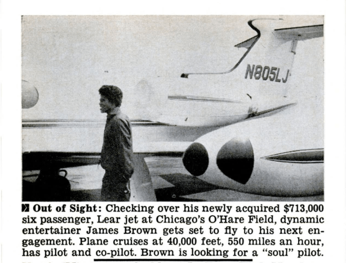 James Brown and his Learjet in Jet Magazine Jul 7, 1966