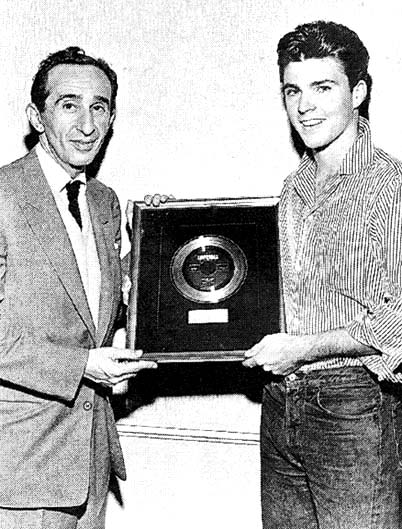 Lew CHudd from Imperial Records in L.A. with Ricky Nelson, via fineprintheroes.com