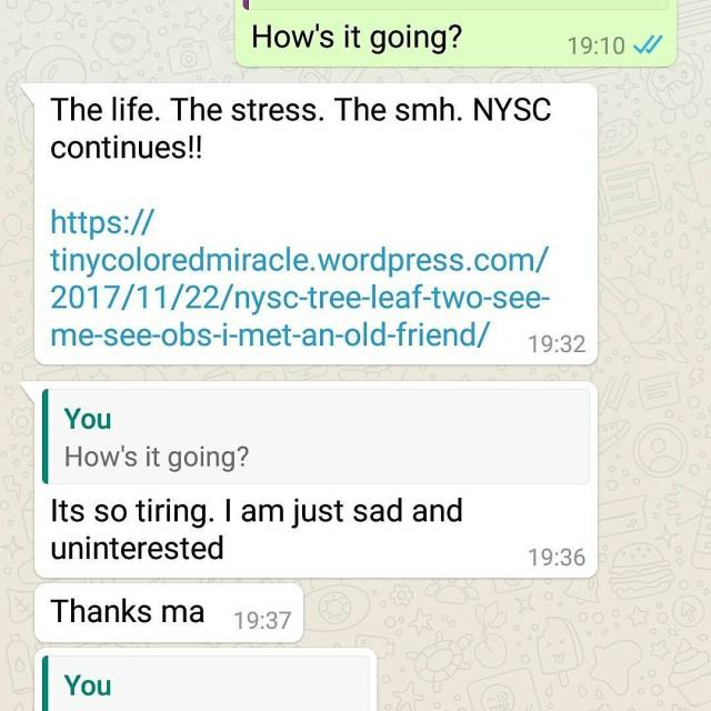 I just had this conversation with a current NYSC corperhellip