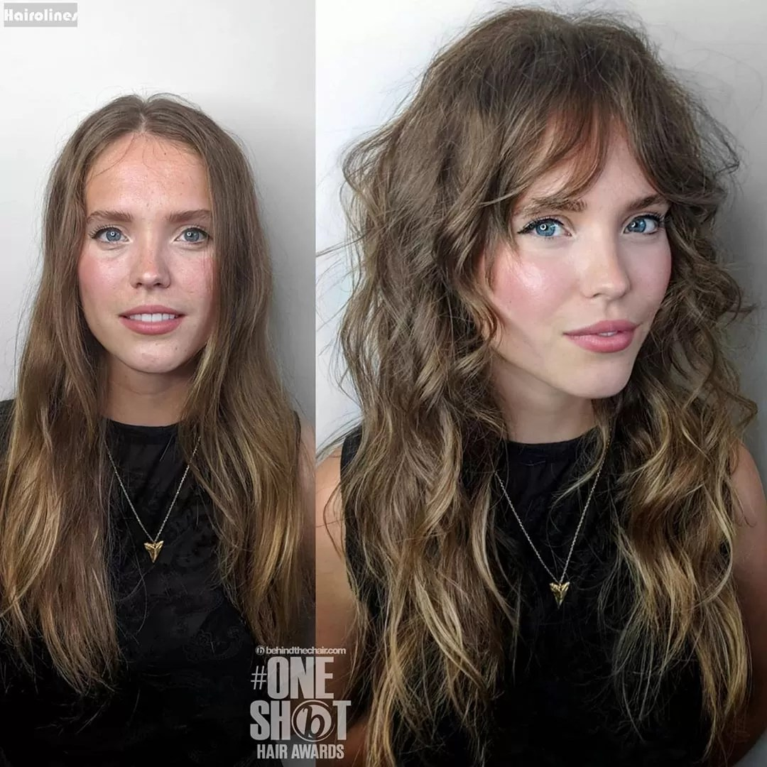 Curl Shag layers with Cropped Fringe