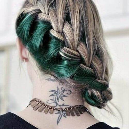 green undercolor braided blonde hair reverse ombre hair