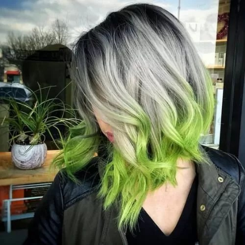 Silver and Green Layered Lob reverse ombre hair