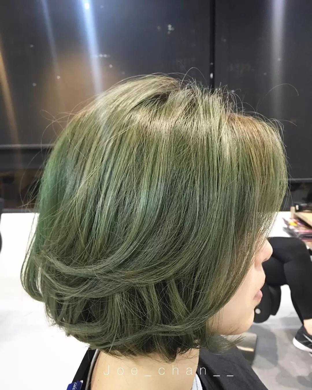 ash green hair