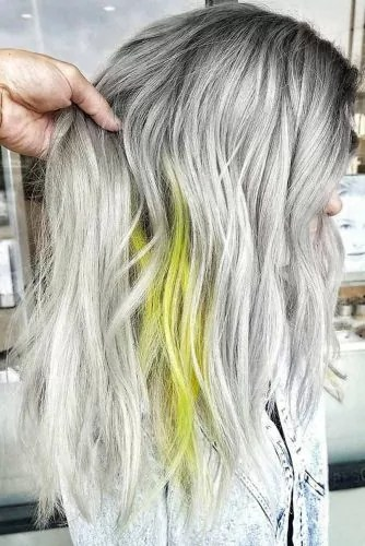 Salt And Pepper With Neon Yellow #saltandpepperhair