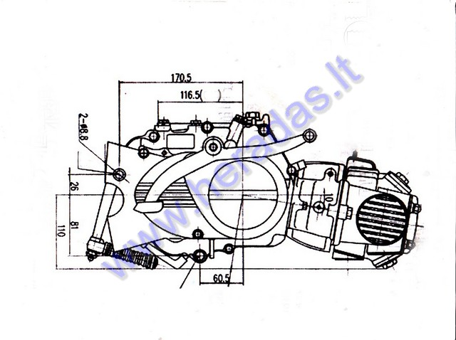 4-stroke Lifan motorcycle engine 125cc 4 gears air-cooled