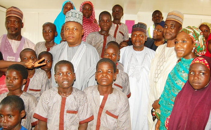 Borno State Governor, Alhaji Kashim Shettima; President/CE, Dangote Group, Aliko Dangote; A. B. Mahmoud SAN; Executive Director, Dangote Group, Halima Aliko Dangote during a visit to Dalori Camp for Internally Displaced Persons (IDPs) in Maiduguri recently