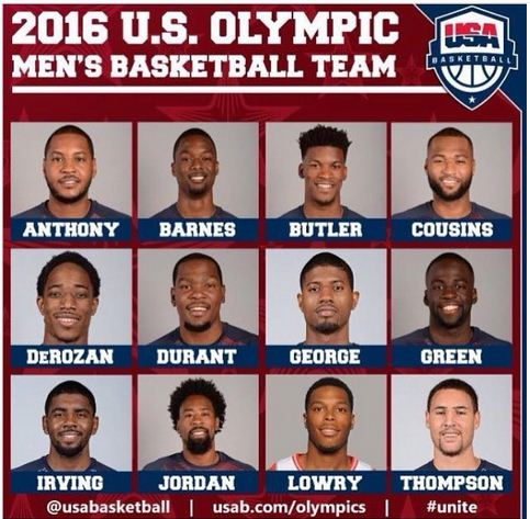 US Olympic baskt ball team 2016